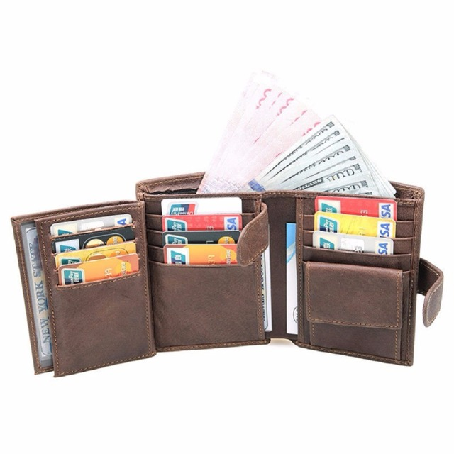 artmi mens leather trifold wallet with double id windows rfid