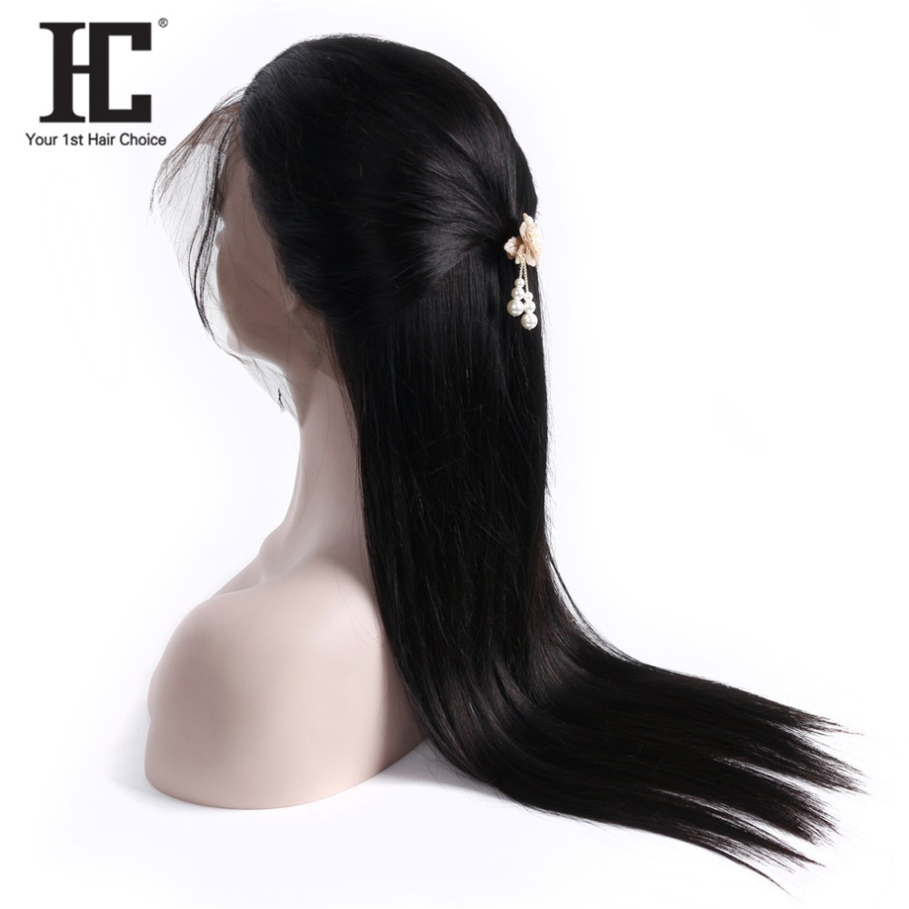 HC Hair 150% Density 360 Lace Frontal Wig Pre Plucked With Baby Hair Straight Peruvian Lace Front Human Hair Wigs Remy Hair