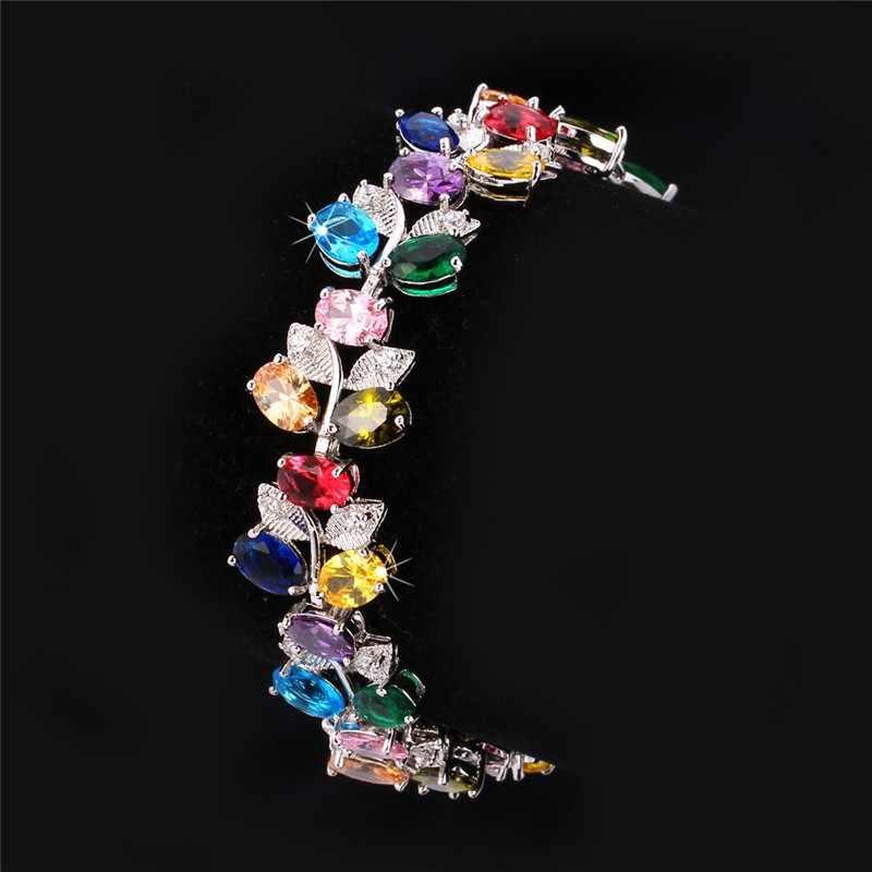 U7 Браслет С Фианитами Для Женщин Ювелирные Изделия Позолоченные Циркон Цветок Лист Браслет Оптом H575
