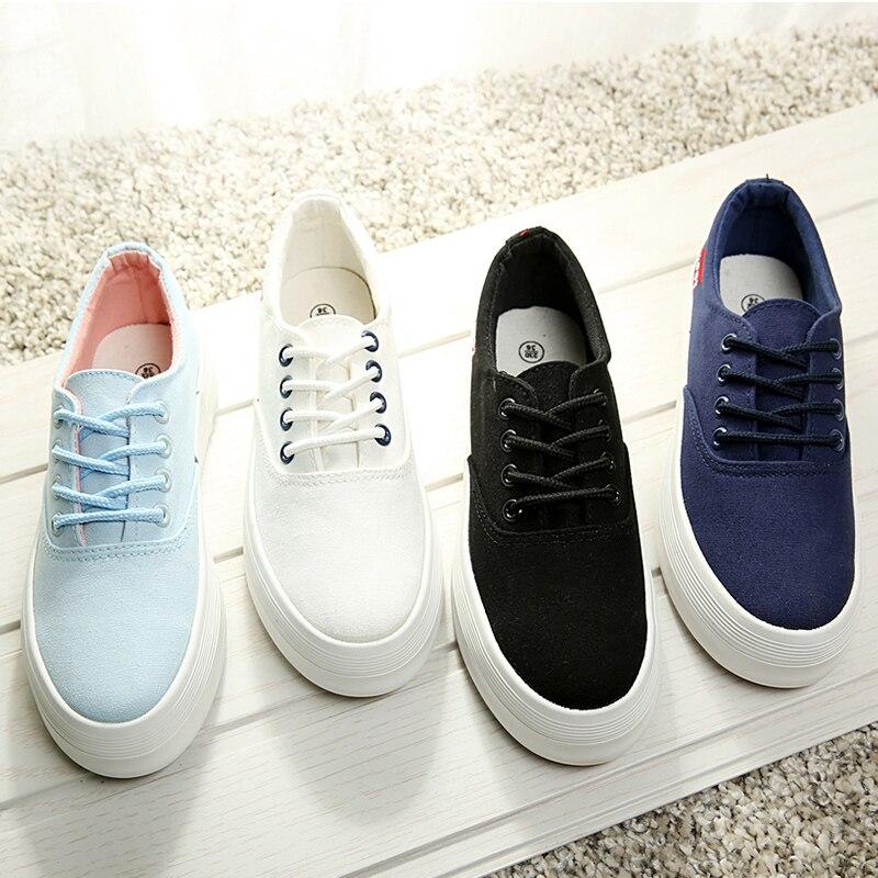 Women Canvas Sneakers Cheap Shoes Online On Platform White Platform -2525