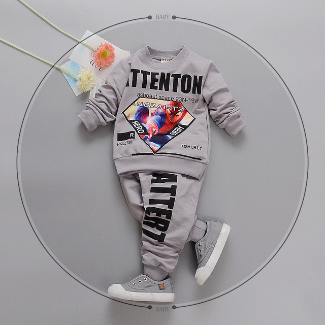 2017 new spring and autumn 100% cotton Cartoon baby clothing set boy /girls clothes 0-3 year 1 set Long-sleeved tshirt + pants