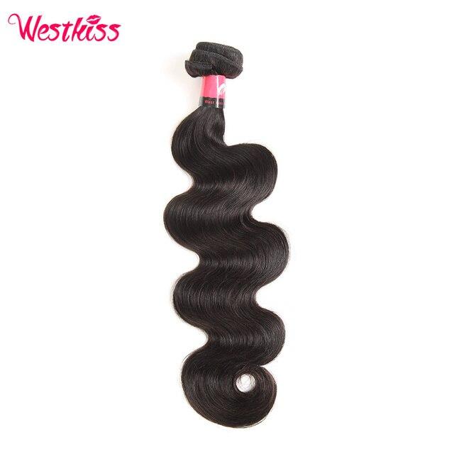 West Kiss 100% Human Hair Bundles  Natural Black Peruvian Body Wave Hair Weaving 12-30 Inch  Non-Remy Hair Extensions