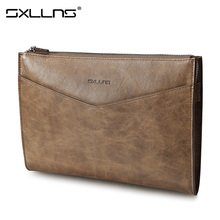 Brand Sxllns Vintage Men Clutch Envelope Bag Mens Wallet Large Capacity Leather Genuine Top Cowhide Men's Purses And Handbags