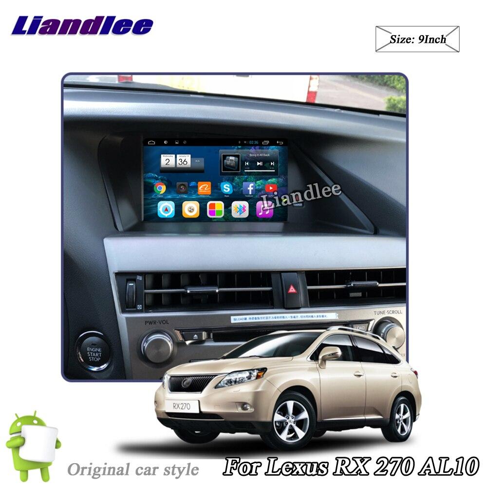 Liandlee coche sistema Android para Lexus RX 270 RX270 AL10 2008 ~ 2015 Radio Estéreo Carplay Wifi GPS Navi mapa navegación Multimedia