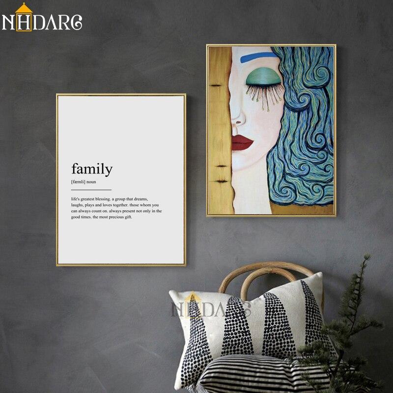 NHDARC Canvas Print Painting Art Gustav Klimt Flower Text Letter Modern Home Decoration Wall Picture for Living Room