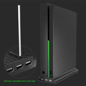 Image 5 - Için microsoft xbox One X Konsolu X one X Oyun Konsolu Soğutma Fanı dikey stant 3 USB 2.0 Portlu Soğutucu