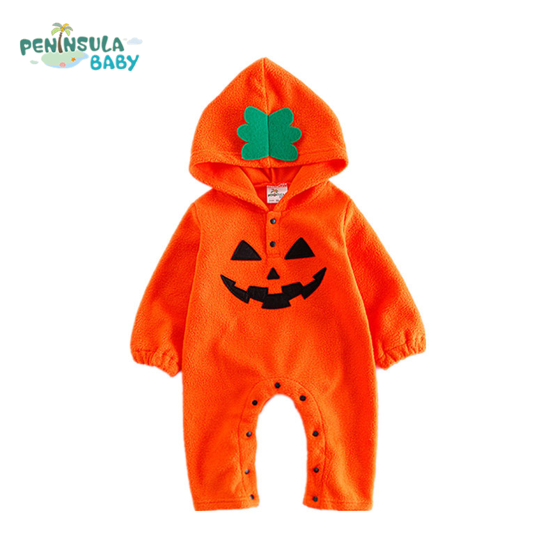 Baby Rompers Halloween Pumpkin Girls Winter Long Sleeve Baby Boys Clothes Hooded jumpsuit Newborn Baby Toddler Costume For Gift