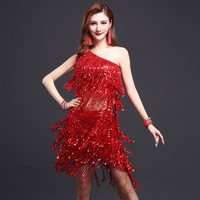 New Fashion Ballroom Dance Dress Samba 3pcs Costume Neckalce Sleeves Women Sexy Salsa Dresses With Tassels