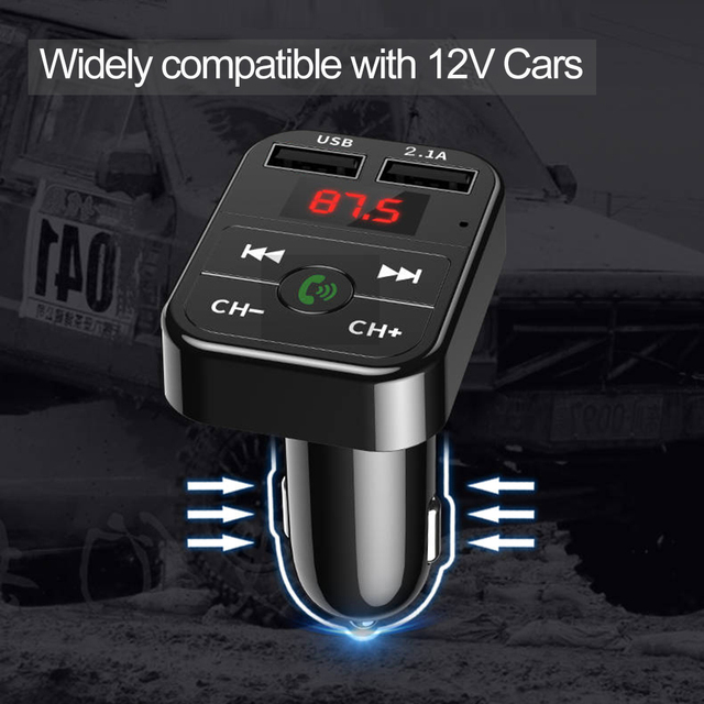 Автомобильный FM-трансмиттер, Bluetooth 5,0, FM-трансмиттер, беспроводная гарнитура, аудиоприемник, mp3-плеер, 2.1A, двойной USB, быстрая зарядка, автомобильные аксессуары 6