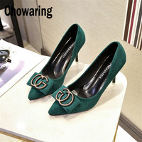 Chowaring Women Pumps High Heel Shoes Bowtie Butteryfly Knot Metal Logo Slip On Shallow Dress Party Shoes Green Size 34 8cm