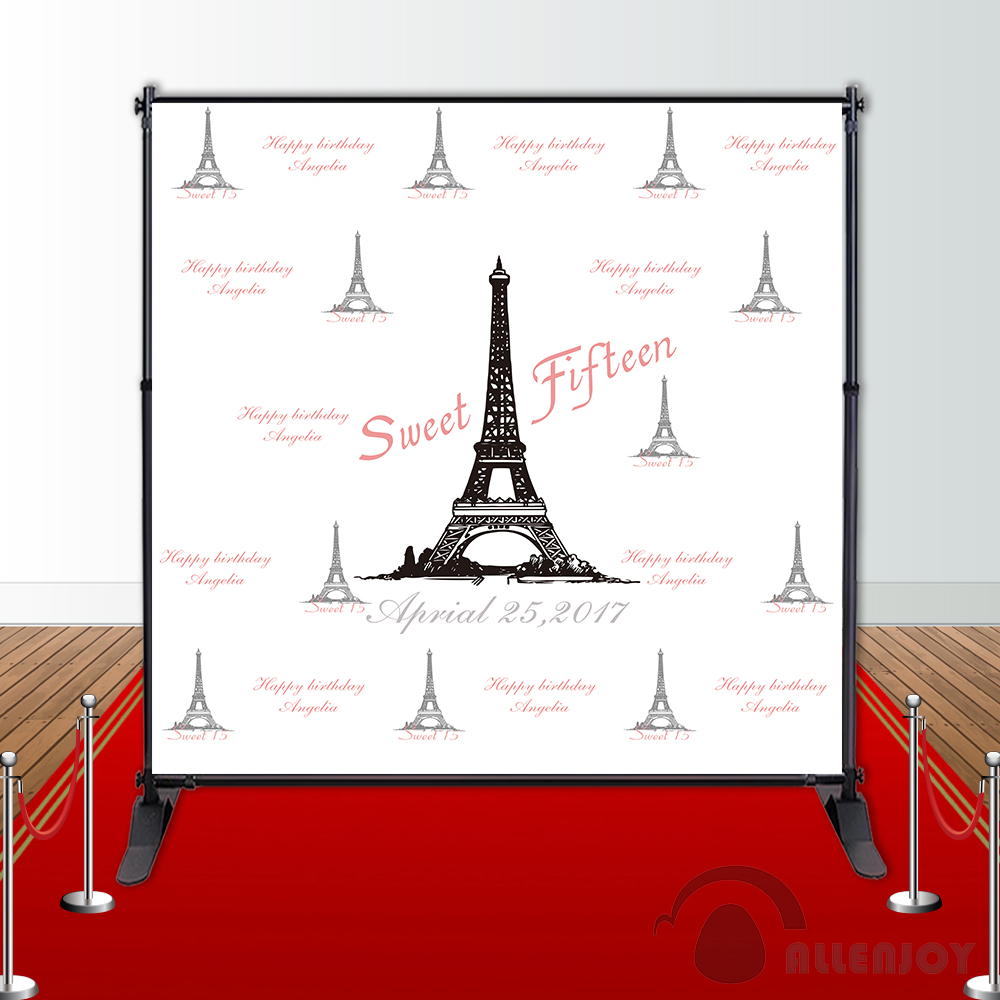 Allenjoy Girls Birthday backdrops Step and Repeat Background Eiffel Tower party banner Invitation celebration Party customize birthday backdrops baby shower eiffel tower background black and white stripe invitation celebration party allenjoy customize