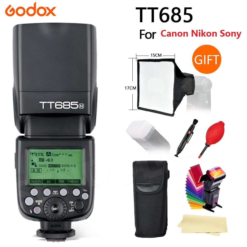 Godox TT685 Flash TTL Camera Flash speedlite High Speed 1/8000s GN60 for Canon Nikon Sony Fuji   Olympus DSLR Camera +gifts w extra battery godox v860n speedlite i ttl speedlight flash light high speed godox ft 16s wireless trigger kit for nikon dslr