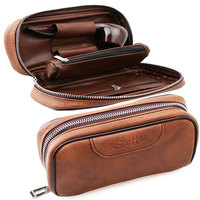 Scotte Leather tobacco Smoking Wood pipe pouch case/bag for 2 tobacco pipe(Does not include pipes and accessories)