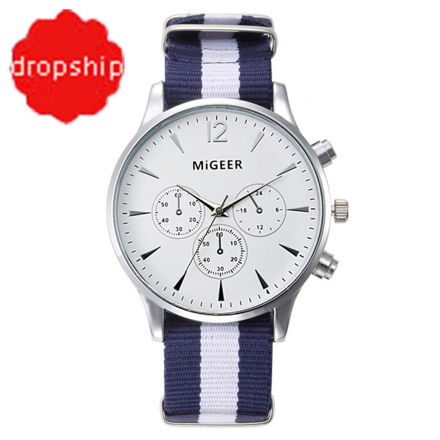 Splendid Dropship Migeer Brand Luxury Fashion Canvas Strap Watch Men Quartz Watch Casual Males Sport Business Wrist Men Watches