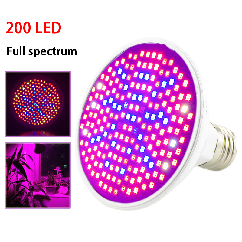 New 200 LED Plant Grow Light Lamp UV IR Full Spectrum Growing Bulbs Hydro For Flower Seeds Veg Indoor Greenhouse Growbox E27