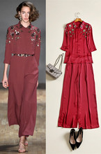 New arrival Spring summer silk satin shirts wide-leg pants European style sequin flower Wine red pantsuits