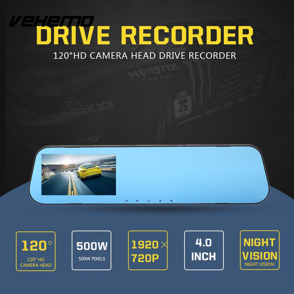 Vehemo 4.0 Inches 5MP Camcorder Loop Recording Dash Cam Driving Recorder Universal Video Recorder DVR Smart Rearview Camera