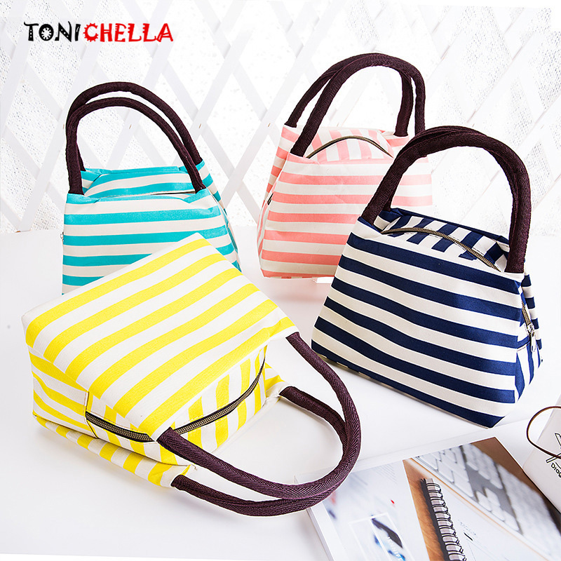 Baby Stripe Thermal Bags Mummy Lunch Box Tote Infant Food Feeding Milk Breast Bottles Warmer Outdoor Oxford Storage Bag CL5336