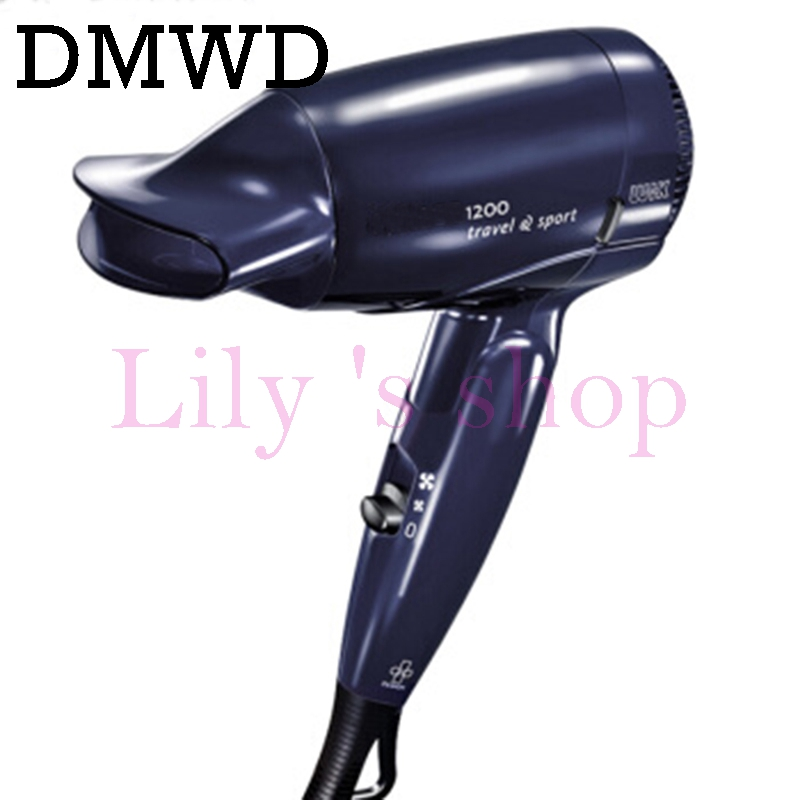 DMWD Mini Hair Dryer Foldable electric travel blow Hairdryer Household portable thermostatic Styling Tool 110V 220V dual-voltage dmwd mini hair dryer foldable electric travel hairdryer household portable styling tool hot warm cold wind air blower 110v 220v