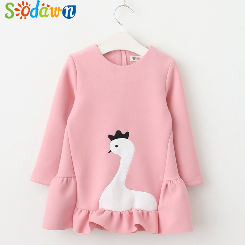 Sodawn Spring Autumn New Girl Clothes Cygnus Design Long-Sleeved Dress Fashion Princess Dress Children Clohting Baby Girls Dress