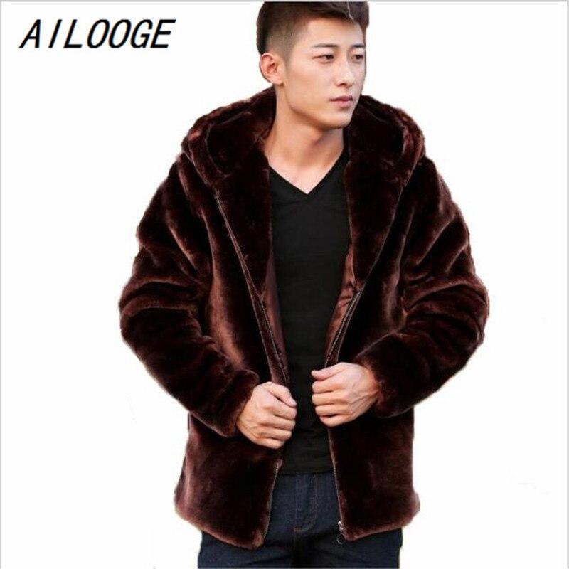 AILOOGE Suede Leather Jacket For Men Hooded Winter Spring Mens Faux Mink Coat Youth Motorcycle Biker Men's Faux Fur Coats Brand