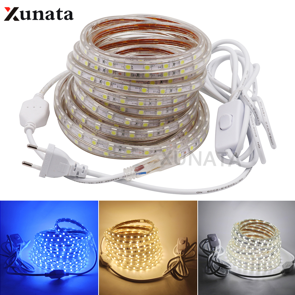 AC220V LED Strip SMD 5050 Flexible Waterproof Strip Light 60leds m LED Ribbon Tape Home Decoration With EU Switch Power Plug in LED Strips from Lights Lighting