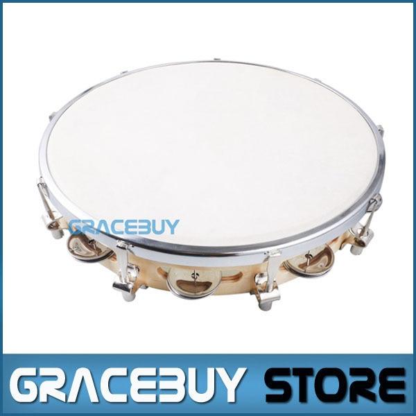 10 Tambourine Capoeira Leather Drum Pandeiro Samba Brasil Wooden Tamborine Precussion Music Instrument For Sale tama tjr7 hat tambourine jingle ring