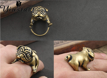 Yiustar New Fashion Super Cute Dog Punk Animal Ring Grandiose Dog Adjustable Vintage Women Rings DWJZ324