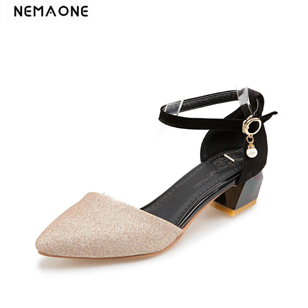 Fashion summer women pumps big size 34-43 sexy poined Toe Buckle Strap silver ladies office low heel shoes zapatos mujer nemaone 2017 new elegant women pumps poined toe low heels women shoes office lady dress shoes zapatos mujer large size 34 43