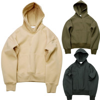 Hip Hop Hoodies With Fleece Inside Autumn Winter Mens Kanye West Hoodie Sweatshirt Swag Solid Olive
