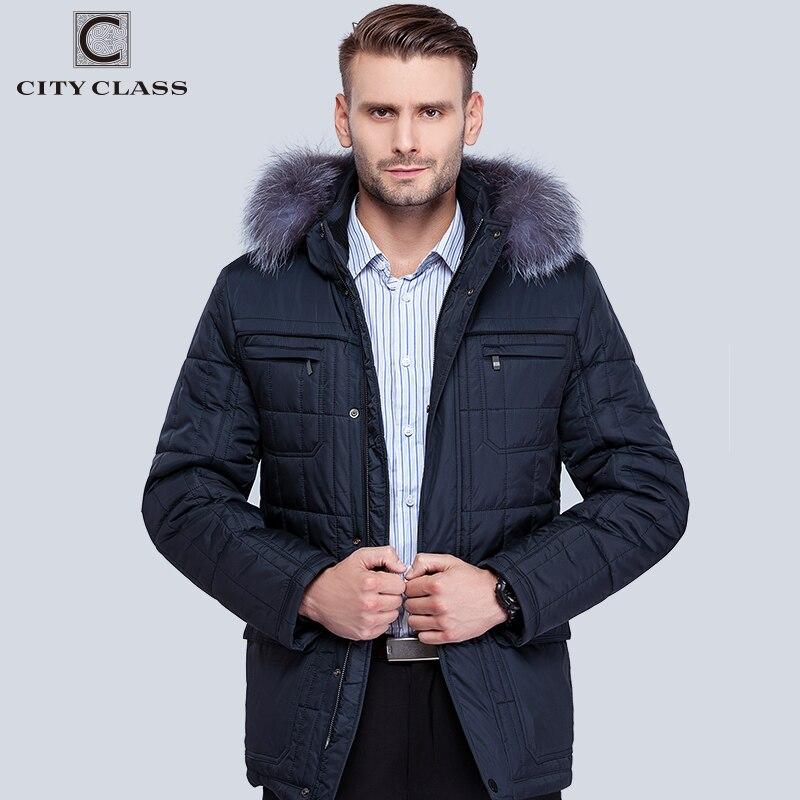 Città Class uomo Inverno Thinsulate Cappotti volpe D'argento Giacche Con Cappuccio Spessore Caldo Moda Basamento Casuale Collare Cappello Rimovibile 14342