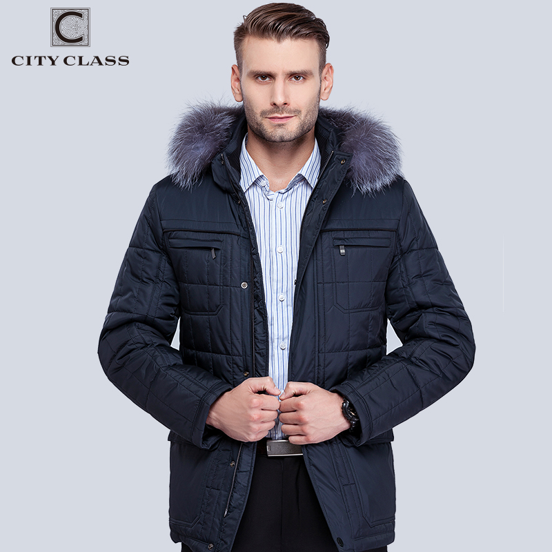 City Class Menns Winter Thinsulate Coats Sølv Fox Hooded Jackets Tykk Varm Fashion Casual Stand Kragen Flyttbar Hat 14342