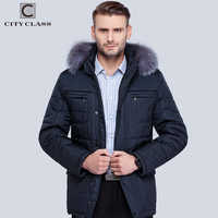 City Class Men's Winter Thinsulate Coats Silver fox Hooded Jackets Thick Warm Fashion Casual Stand Collar Removable Hat 14342
