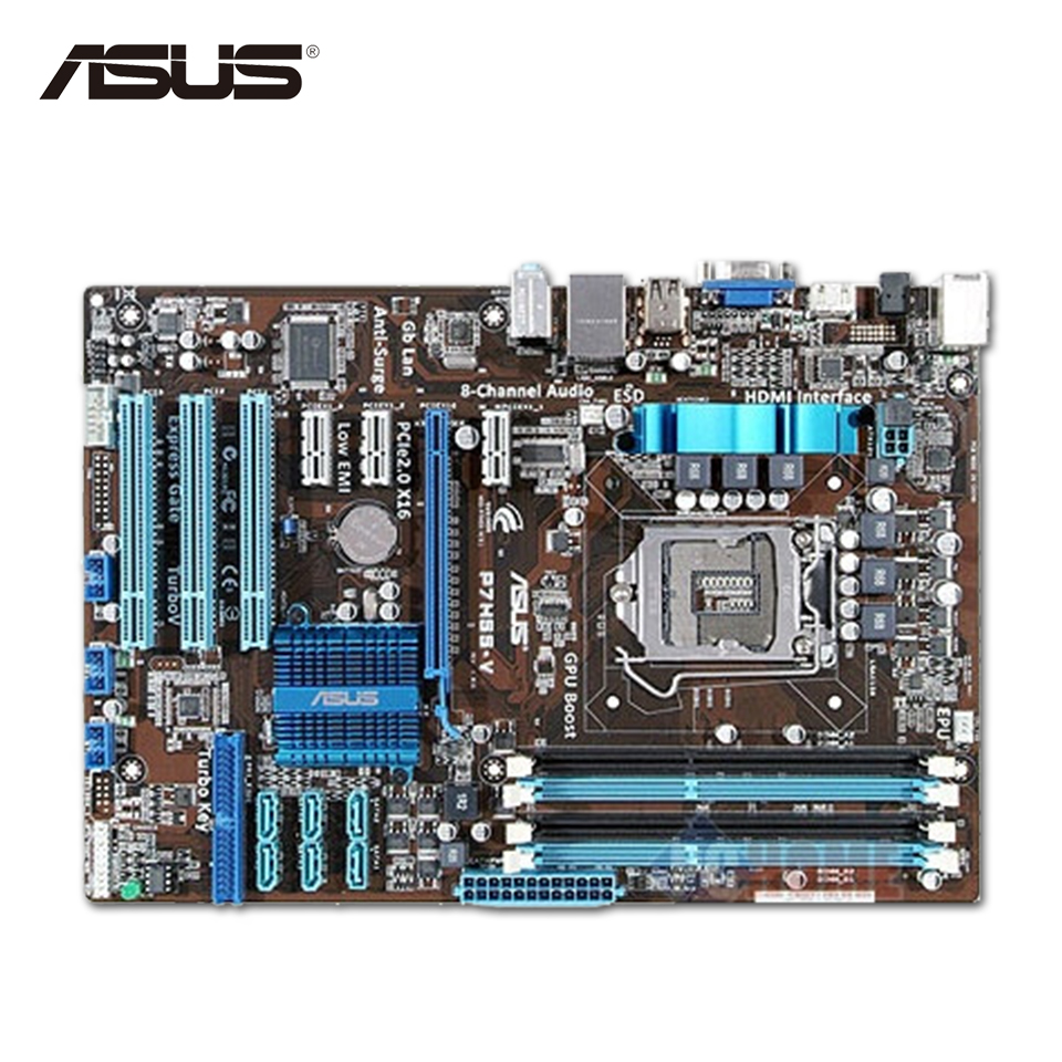 Asus P7H55-V Original Used Desktop Motherboard H55 Socket LGA 1156 i3 i5 i7 E3 DDR3 ATX On Sale asus h61m e original used desktop motherboard h61 socket lga 1155 i3 i5 i7 ddr3 16g micro atx on sale