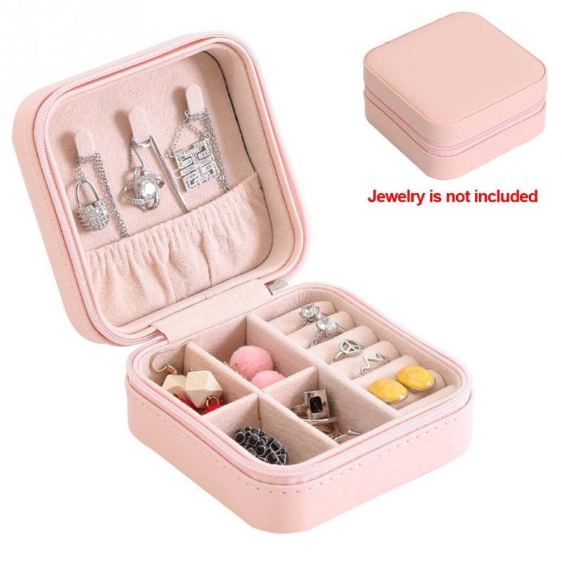 Jewelry Box Portable Storage Organizer Earring Holder Zipper Women Jewelry Display Travel Case