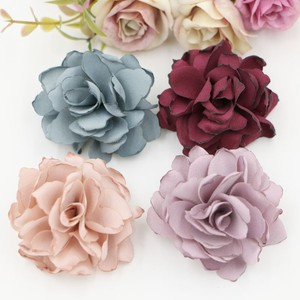 2017 New Arrival 30PCS/lot Burned Satin Flower Handmade flower Hair Flowers wedding flower for Boutique Hair Accessories(China)