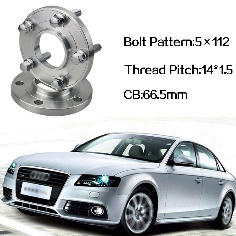 2 pièces 5x112 66.5CB Centric Entretoise De Roue Moyeux M14 * 1.5 Boulons Pour Audi A4 B8 Q5 Q7 A5 A6 C7 A7 A8