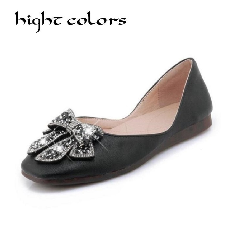 Ladies Shoes Fashion Rhinestone Bow Women Flats Spring Slip On Loafers Women Square Toe Flat Shoes Black/Beige/White Flats bailehou fashion women flats shoes slip on loafers bow pointed toe flat ballet shoes soft moccasins metal buckle shallow shoes