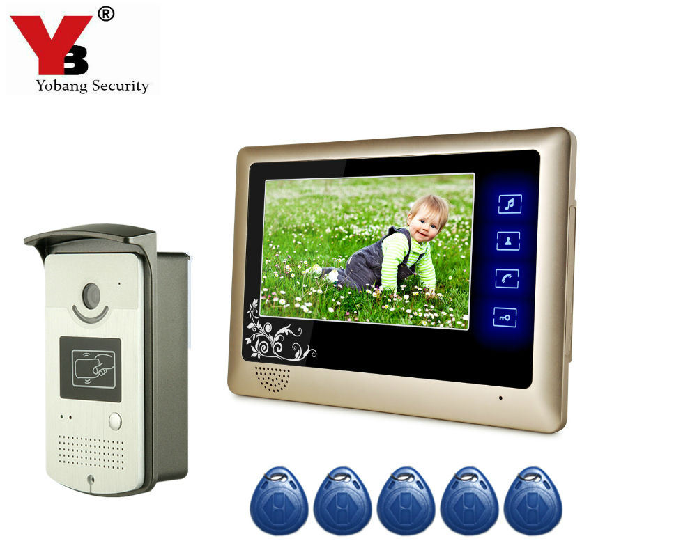 Yobang Security 7Video Intercom Door bell Phone System With  Monitor 5 RFID Access Door Video Doorbell Camera Stock Wholesale door intercom video cam doorbell door bell with 4 inch tft color monitor 1200tvl camera