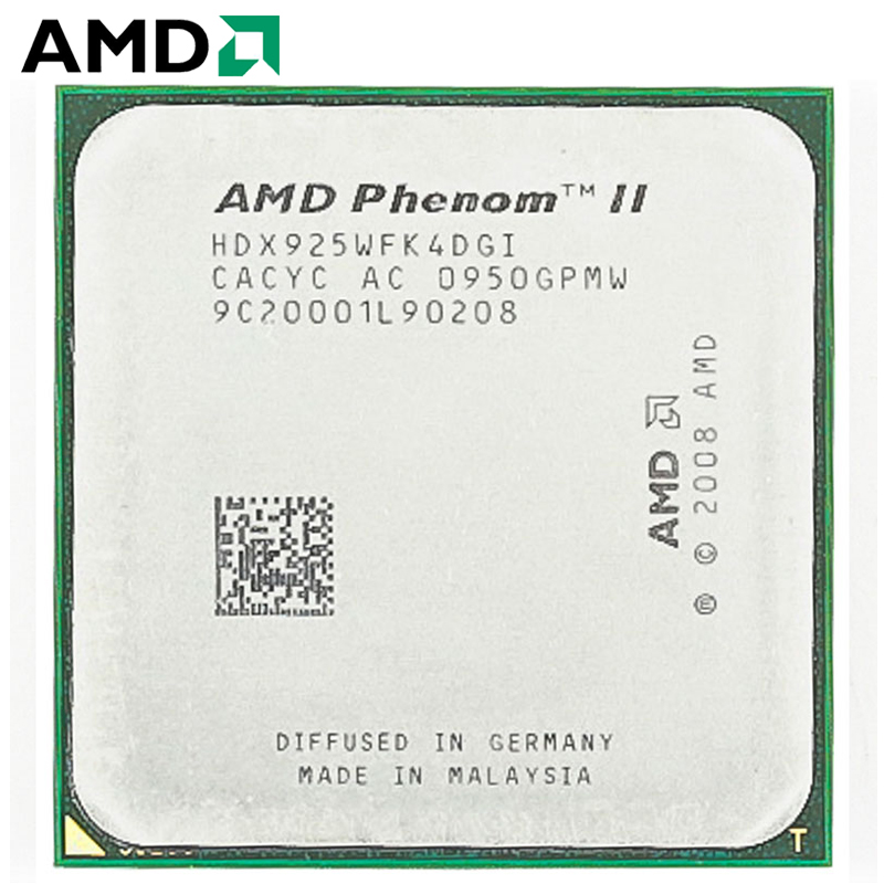 AMD Phenom II X4 925 HDX925WFK4DGI CPU Socket AM3 95W 2.8GHz 938-pin Quad-Core Desktop Processor CPU X4 925 Socket Am3