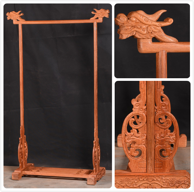 Home Living Room Coat Rack Rosewood Bedding Furniture Solid Wood Carving Dragons Head Clothes Hanger Annatto Wooden Stand Tree