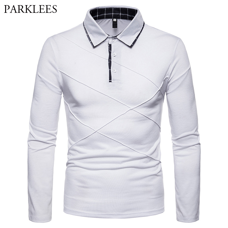 Men's White Patchwork   Polo   Shirts 2018 Brand New Long Sleeve Camisas   Polo   Shirt Men Slim Fit Breathable Casual   Polos   Para Hombre