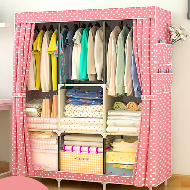 Non-woven Large Wardrobe Coffee Fabric Closet Portable Folding Dust-proof Waterproof Storage Cabinet Home Furniture 2