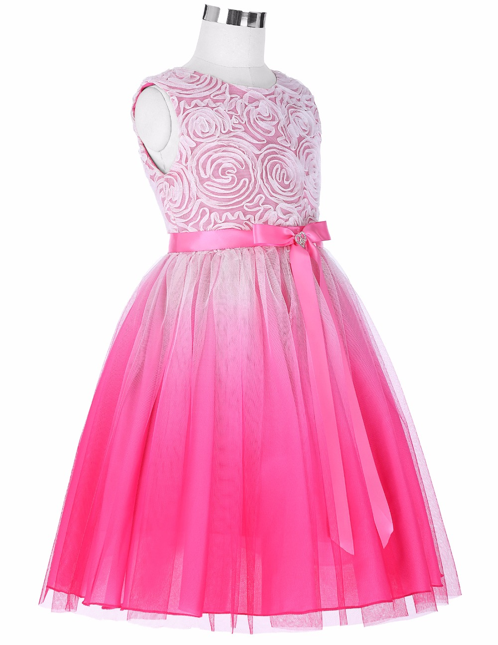 Grace Karin 2017 Flower Girl Dresses Luxury Tulle Flower Party Dresses For Wedding Party First Communion Dresses With Bow Ribbon 7