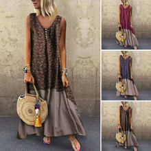 Plus Size Women Dresses Vintage Patchwork Casual Loose Boho
