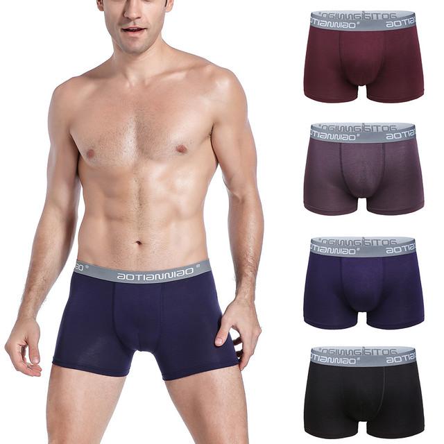 4pcs Male Panties Cotton Men's Underwear Soft Stripe Splcing Briefs Underpants Knickers Shorts Sexy Underwear Brand Shorts#P30