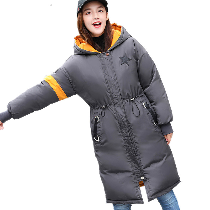 New Thickening Winter Jacket Large Size Cotton Padded Overcoat Casual Winter Coat Womens Clothing Loose Hooded Long Parka TT3324 winter new women loose coat fashion cute parkas hooded jacket overcoat long section casual down cotton large size coat cm1560