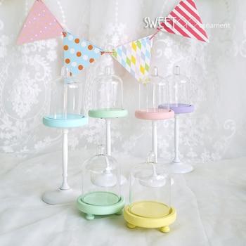 SWEETGO, soporte para magdalenas de color gelatina, mini soporte individual con cúpula de PC, decoración de fiesta de cumpleaños para bebés, accesorio para tarta favorito