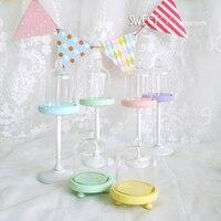 Sweetgo mini suporte de cupcake colorido  mini suporte único para decoração de bolo  acessório de decoração  para aniversário de bebê