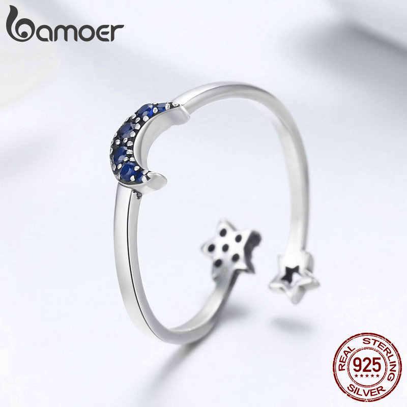 Bamoer real 925 prata esterlina cintilante azul lua estrela clara cz anéis de dedo para as mulheres casamento noivado jóias anel scr437